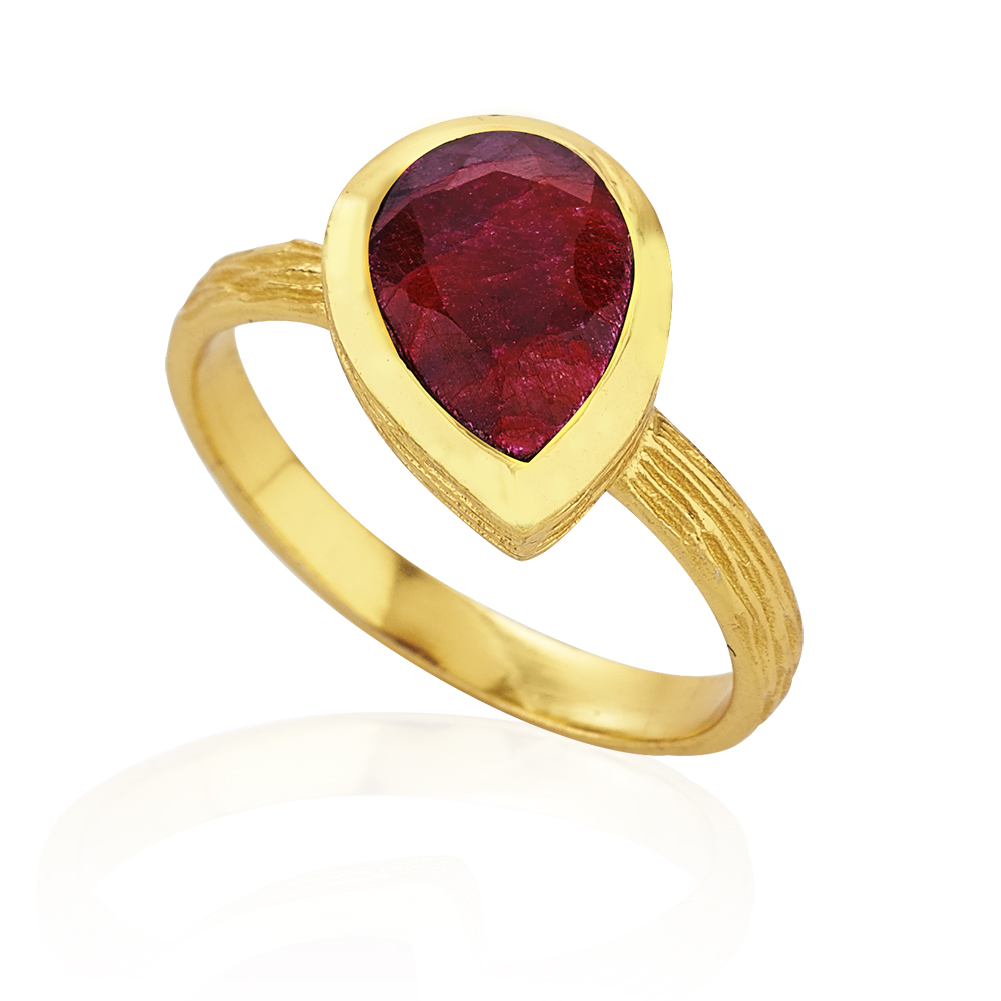 18K Gold-Plated Rims Faceted Red Ruby Gemstone Ring, Size 8
