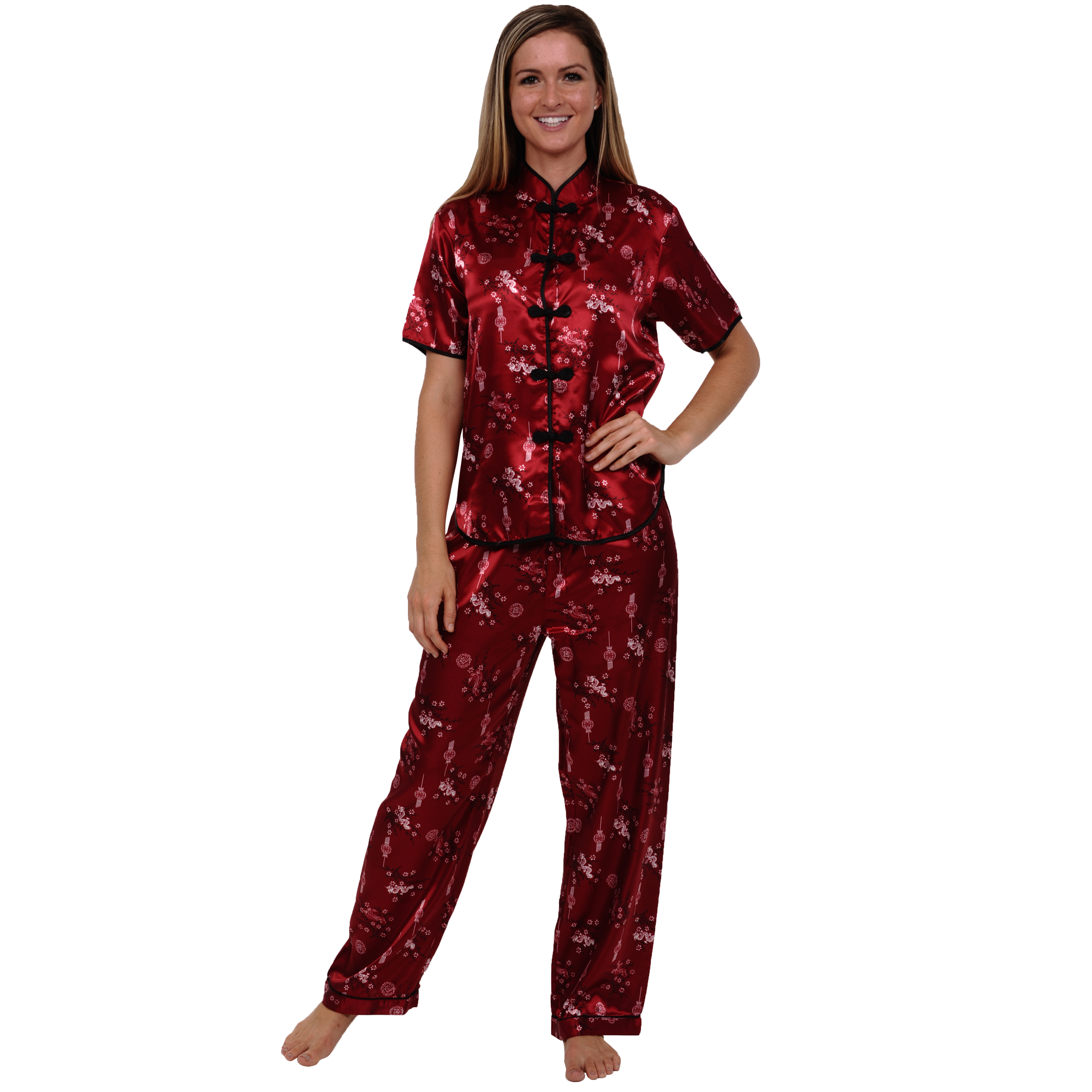 Women's Chinese Pajama Set | Pjs with Frog Enclosures | Del Rossa