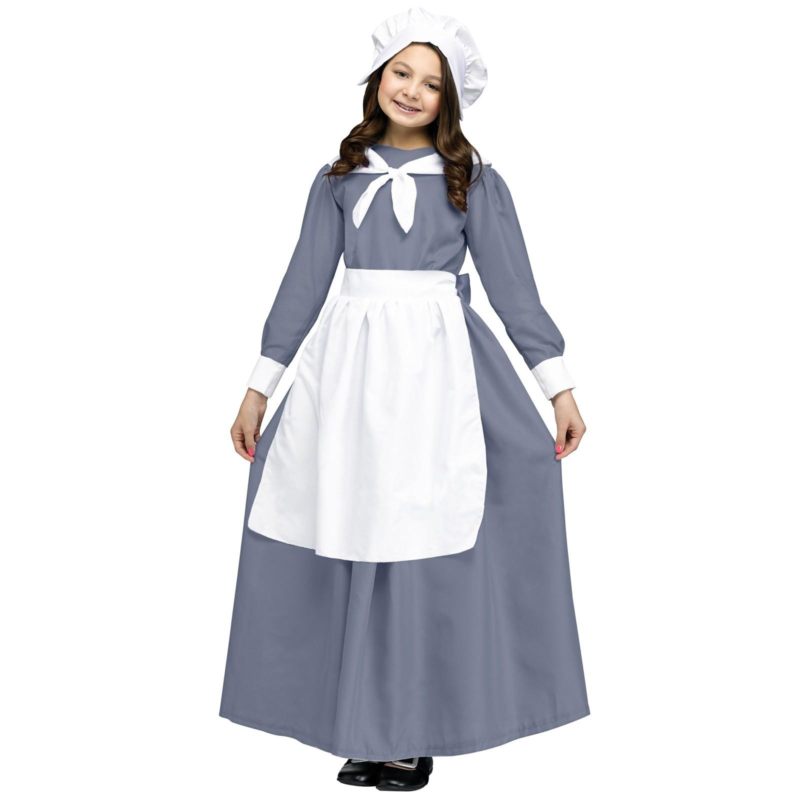 Colonial Pilgrim Girl Kids Thanksgiving Costume Fun World 114022
