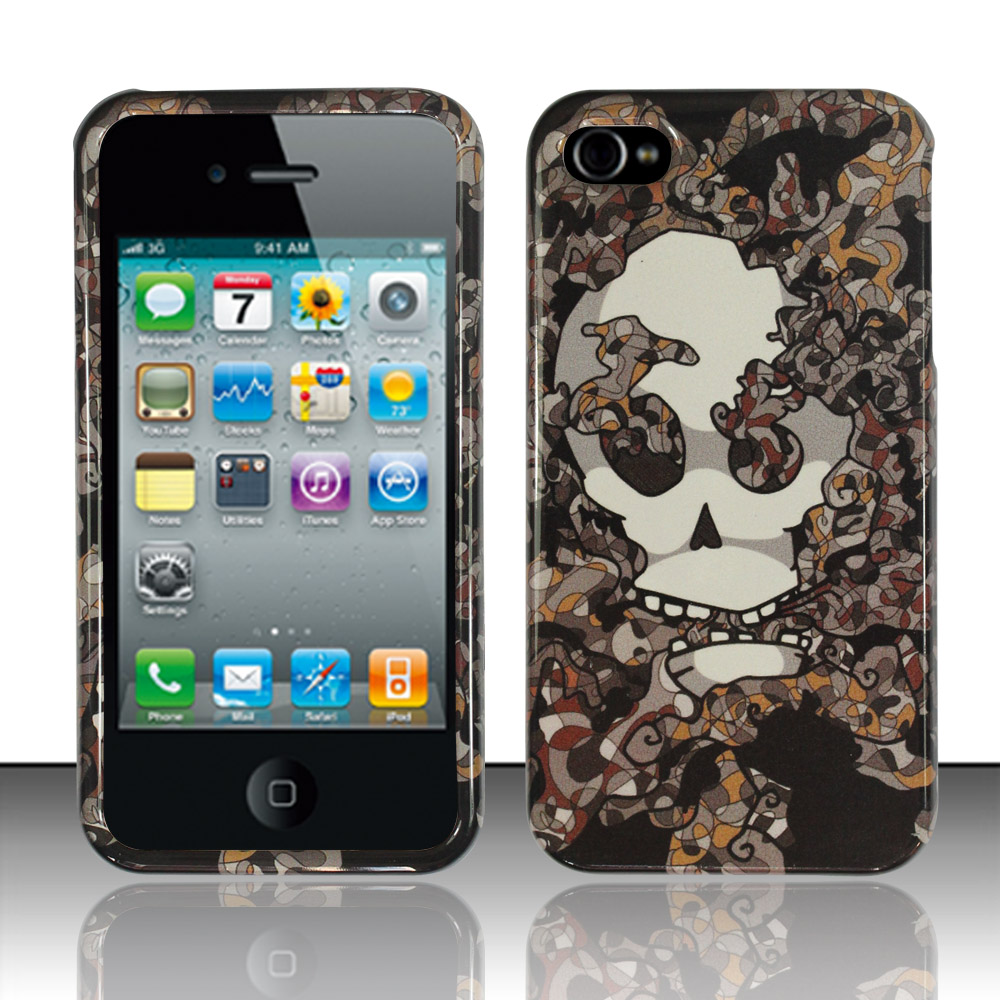 Apple iPhone 4 / 4s Phone Case Limited Edition Smokin' Skull Cover (Grey)