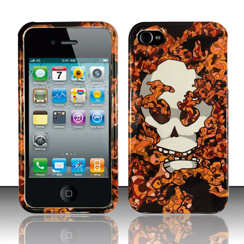 Apple iPhone 4 / 4S Phone Case Limited Edition Smokin' Skull Cover (Orange)