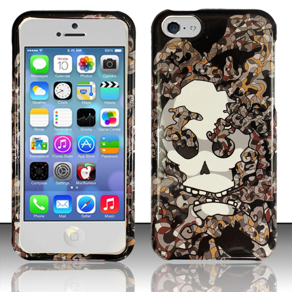 Apple iPhone 5c Phone Case Limited Edition Smokin' Skull Cover (Grey)