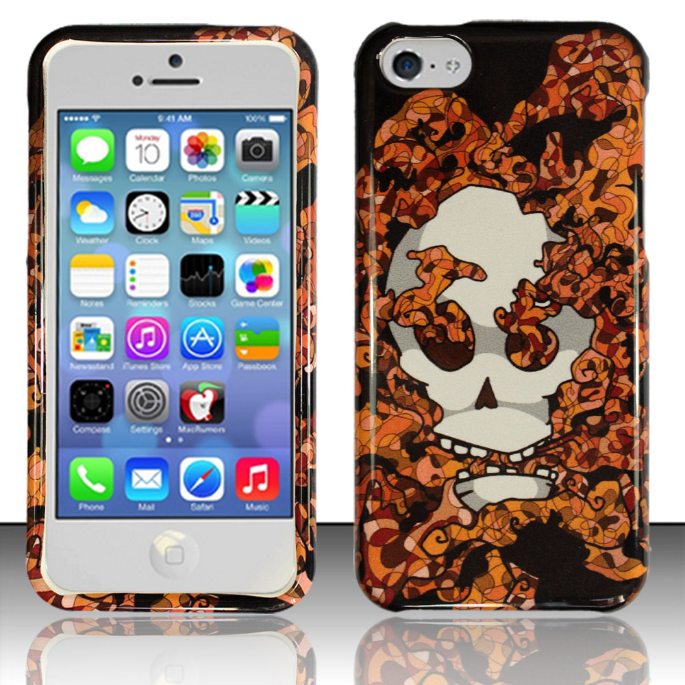 Apple iPhone 5c Phone Case Limited Edition Smokin' Skull Cover (Orange)
