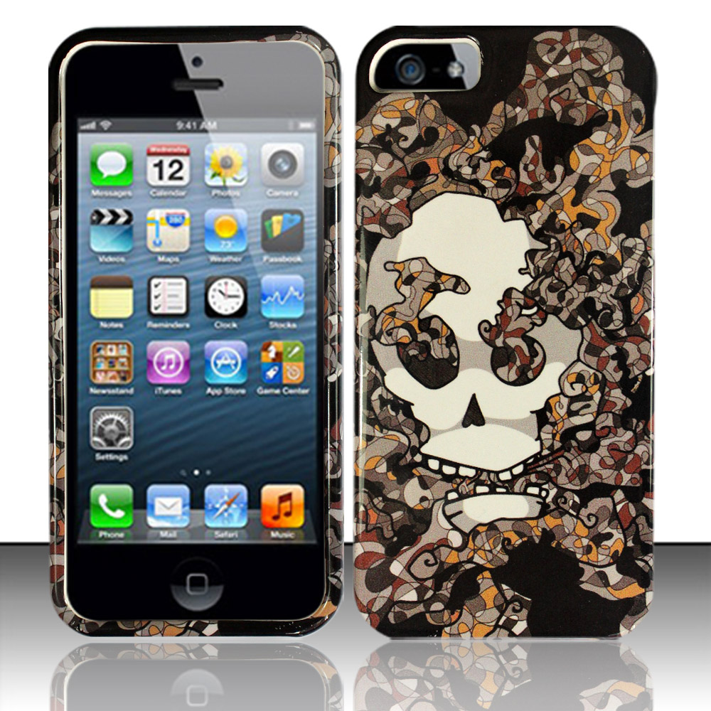 Apple iPhone 5 / 5S Phone Case Limited Edition Smokin' Skull Cover (Grey)