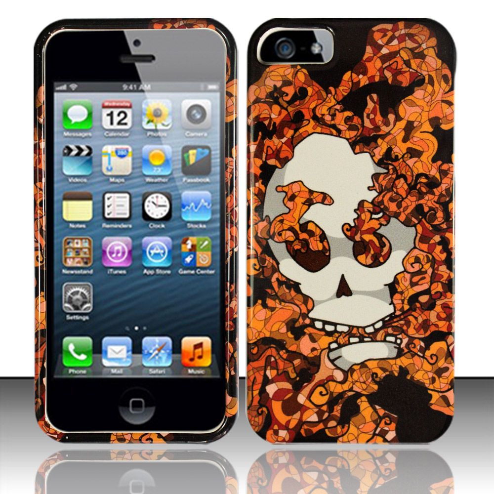 Apple iPhone 5 / 5S Phone Case Limited Edition Smokin' Skull Cover (Orange)
