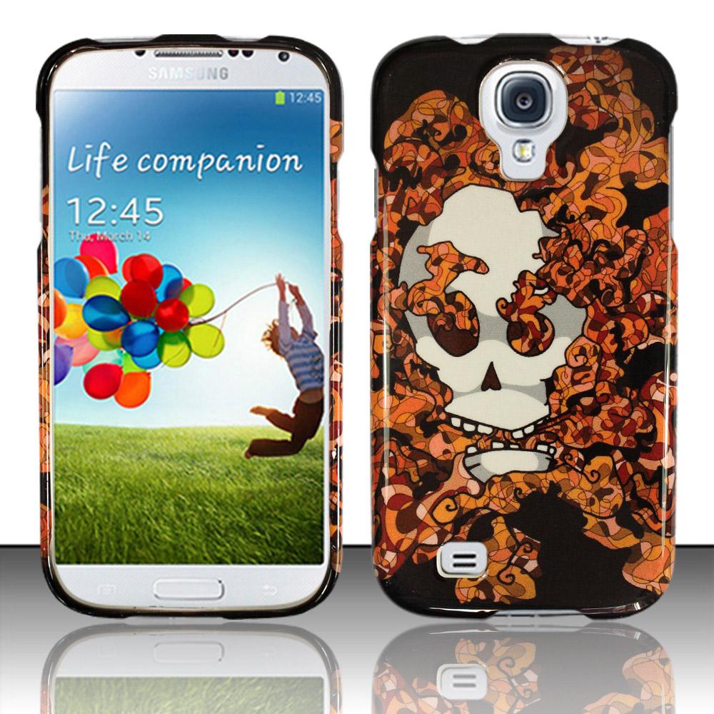 Samsung Galaxy S4 i9500 Phone Case Limited Edition Smokin' Skull Cover (Orange)