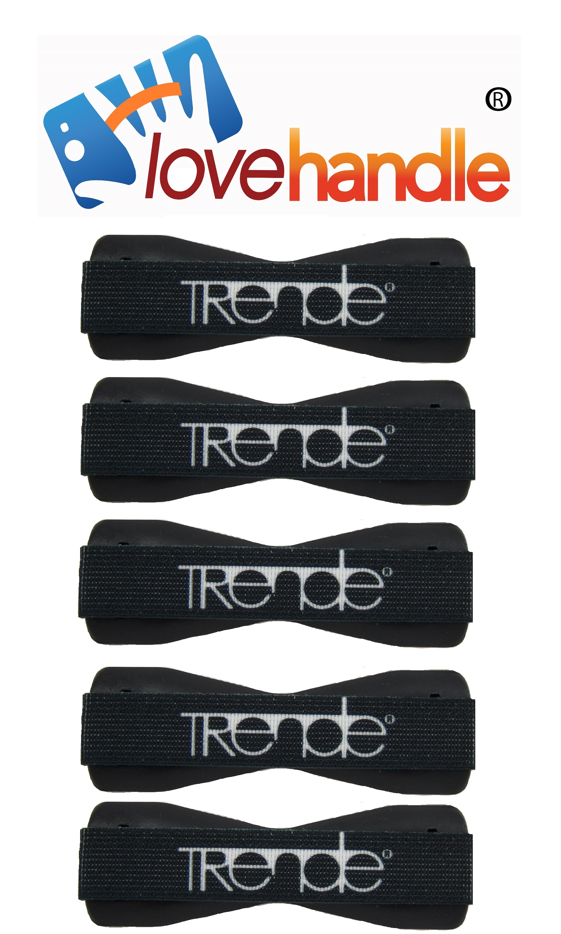LoveHandle (originally SlingGrip) Value Pack 5 White TRENDE on Black Base - Sling Grip As Seen On TV - Love Handle Unive