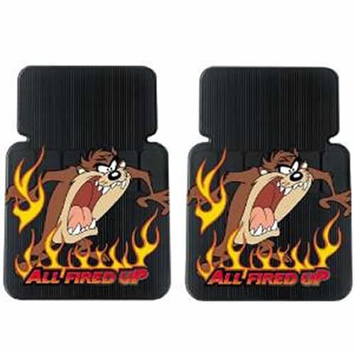 9pc Taz All Fired Up Floor Mats Seat Covers Steering Cd Ebay