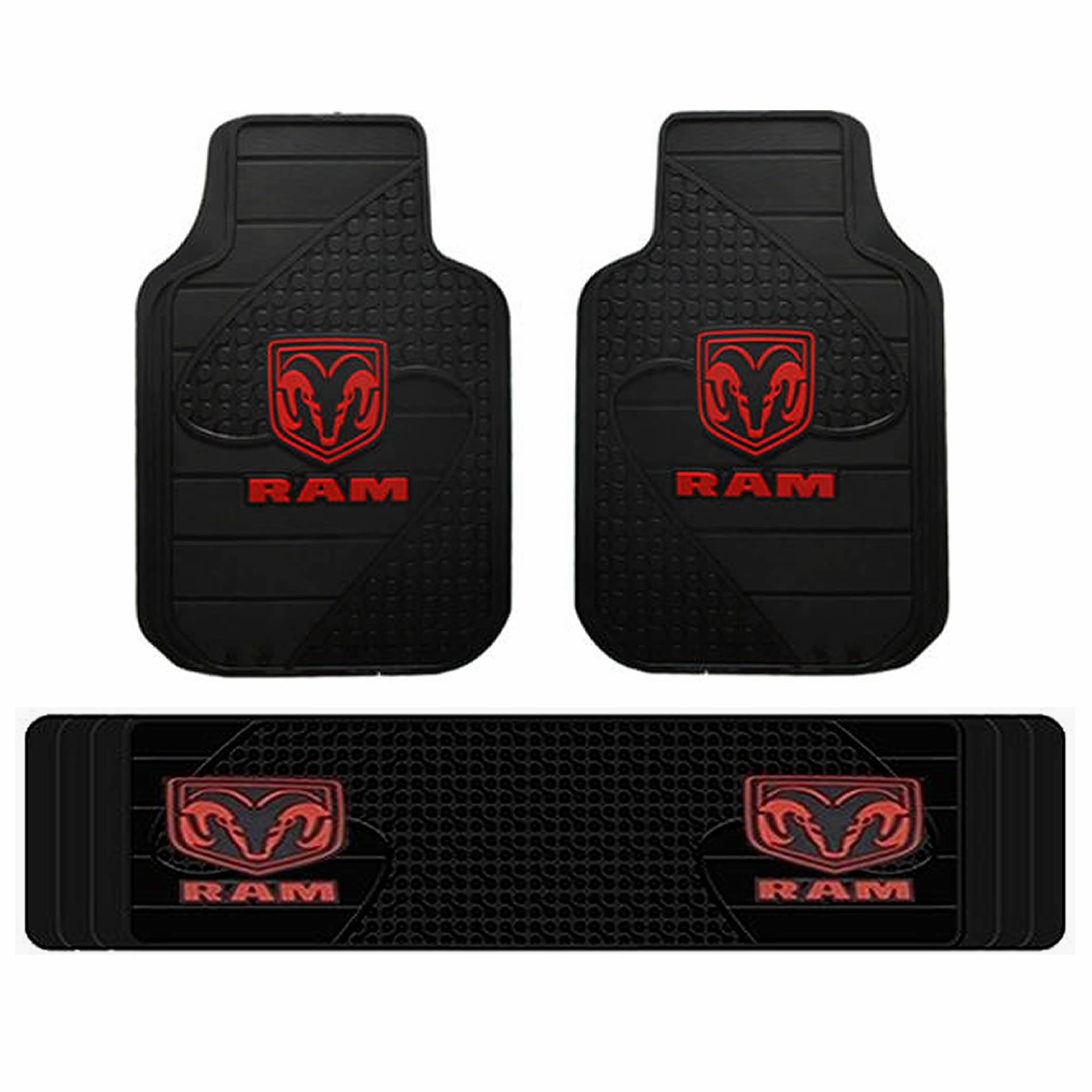 3pc Dodge Ram Factory Black Red Logo Front Rear Runner