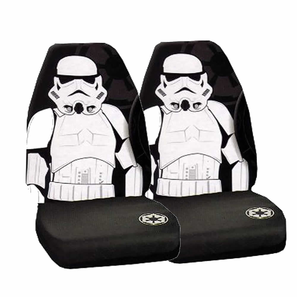 3 Pc Star Wars Stormtrooper Black Front Seat Covers