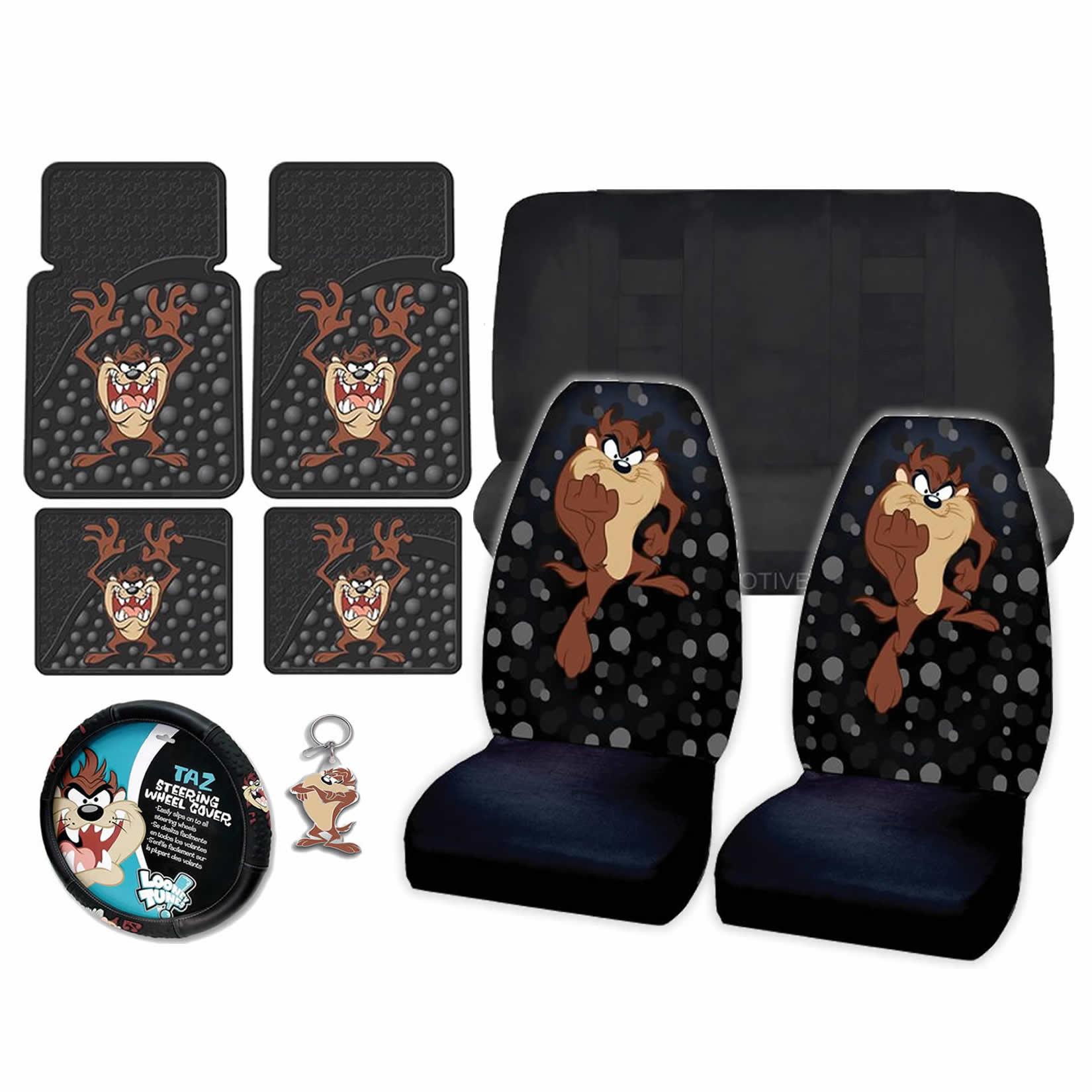10pc Looney Tunes Taz Attitude Black Seat Covers Rubber