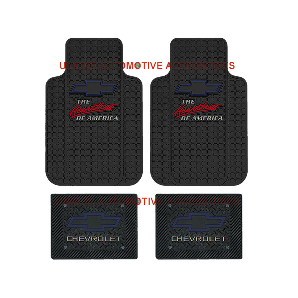 11p Chevrolet Chevy Elite Seat Covers Heartbeat Rubber Mat