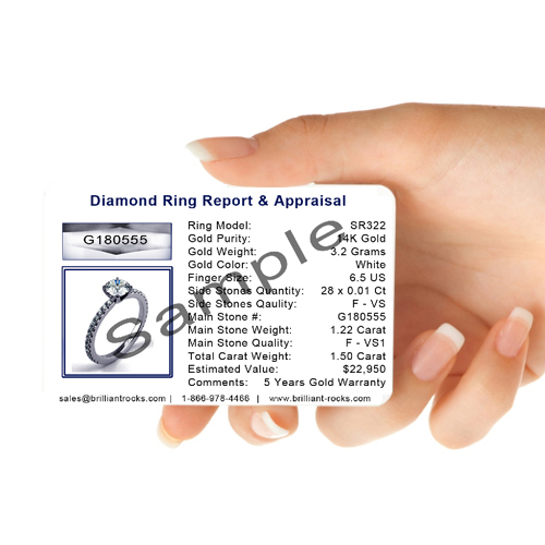 14K White Gold Solitaire Diamond Ring 1.02 Carat Weight K