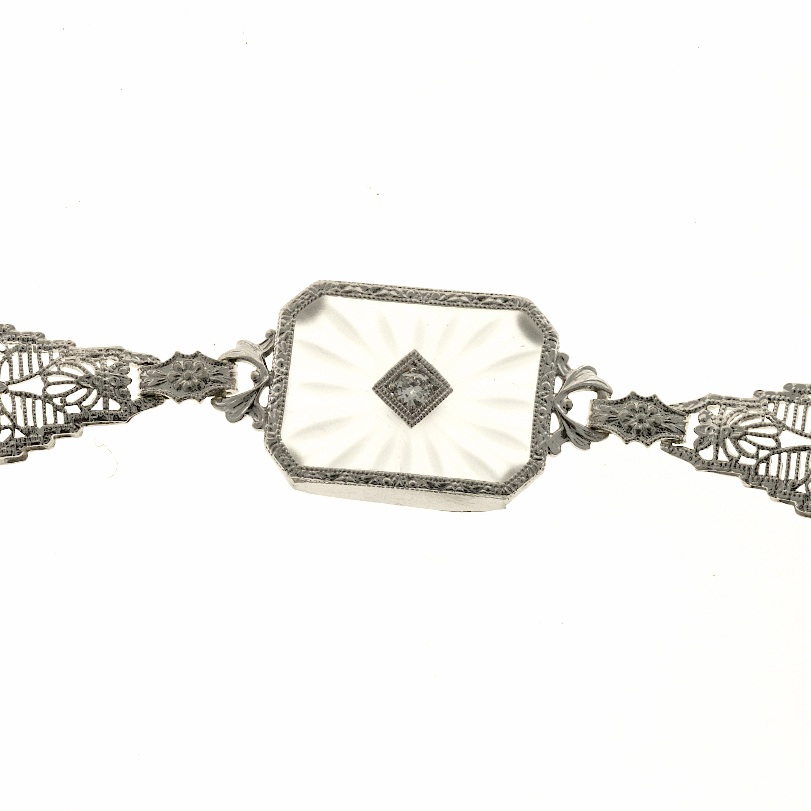 estate 14k white gold pierced filigree link quartz