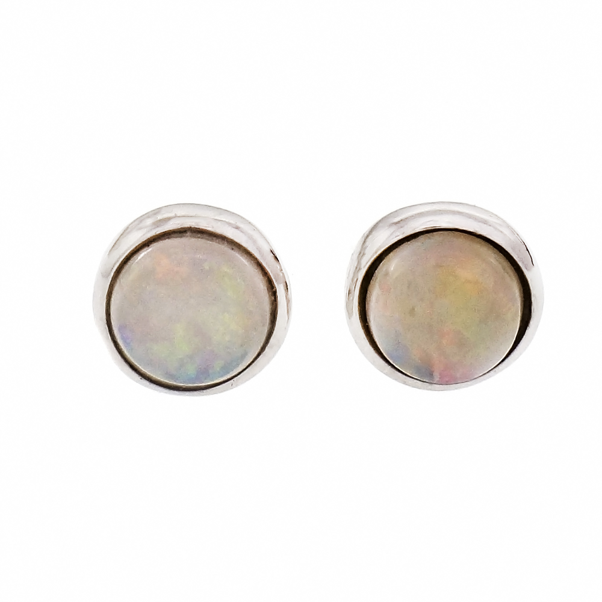Details About Round Opal Stud Earrings 14k White Gold