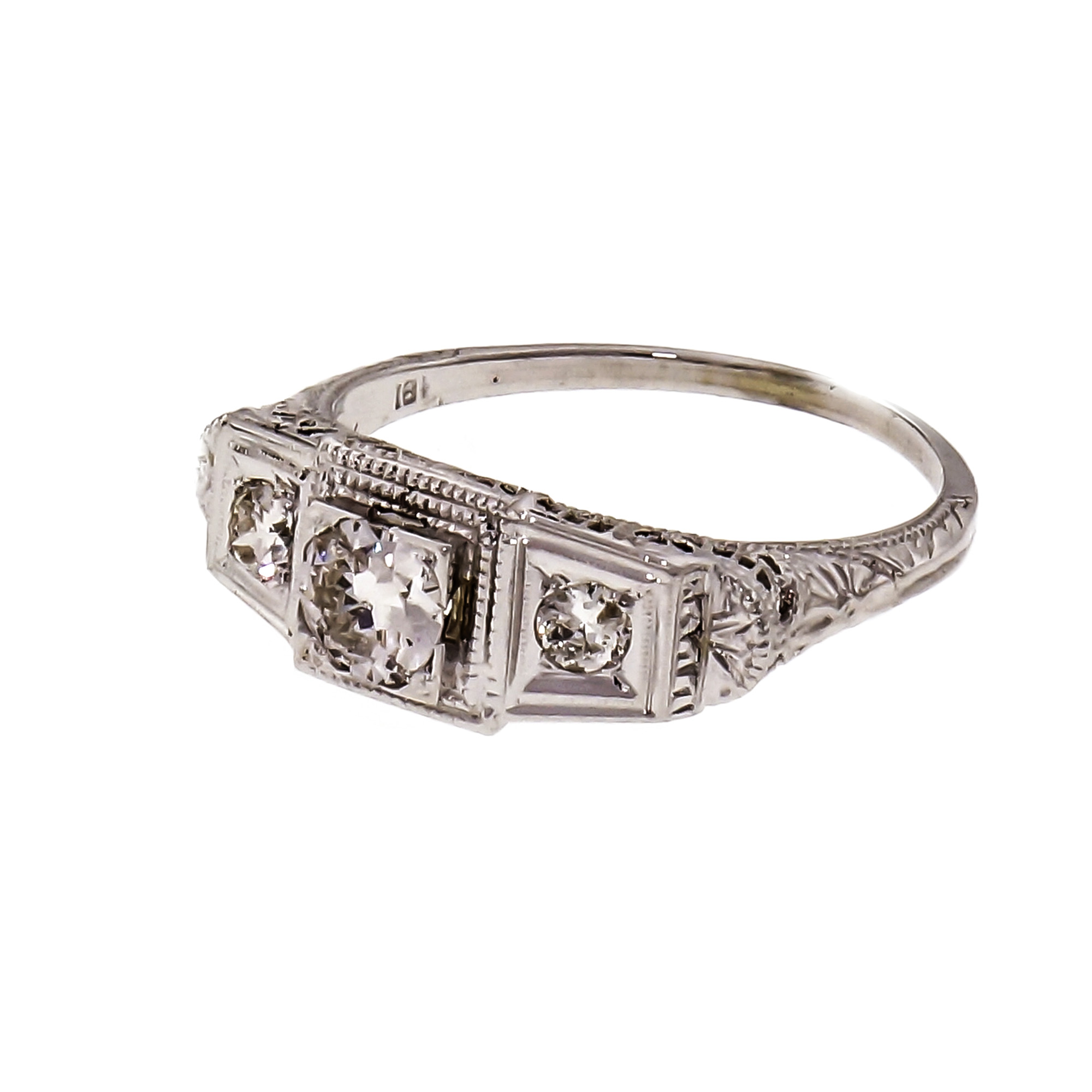 Vintage Art Deco Filigree Diamond Engagement Ring 18k