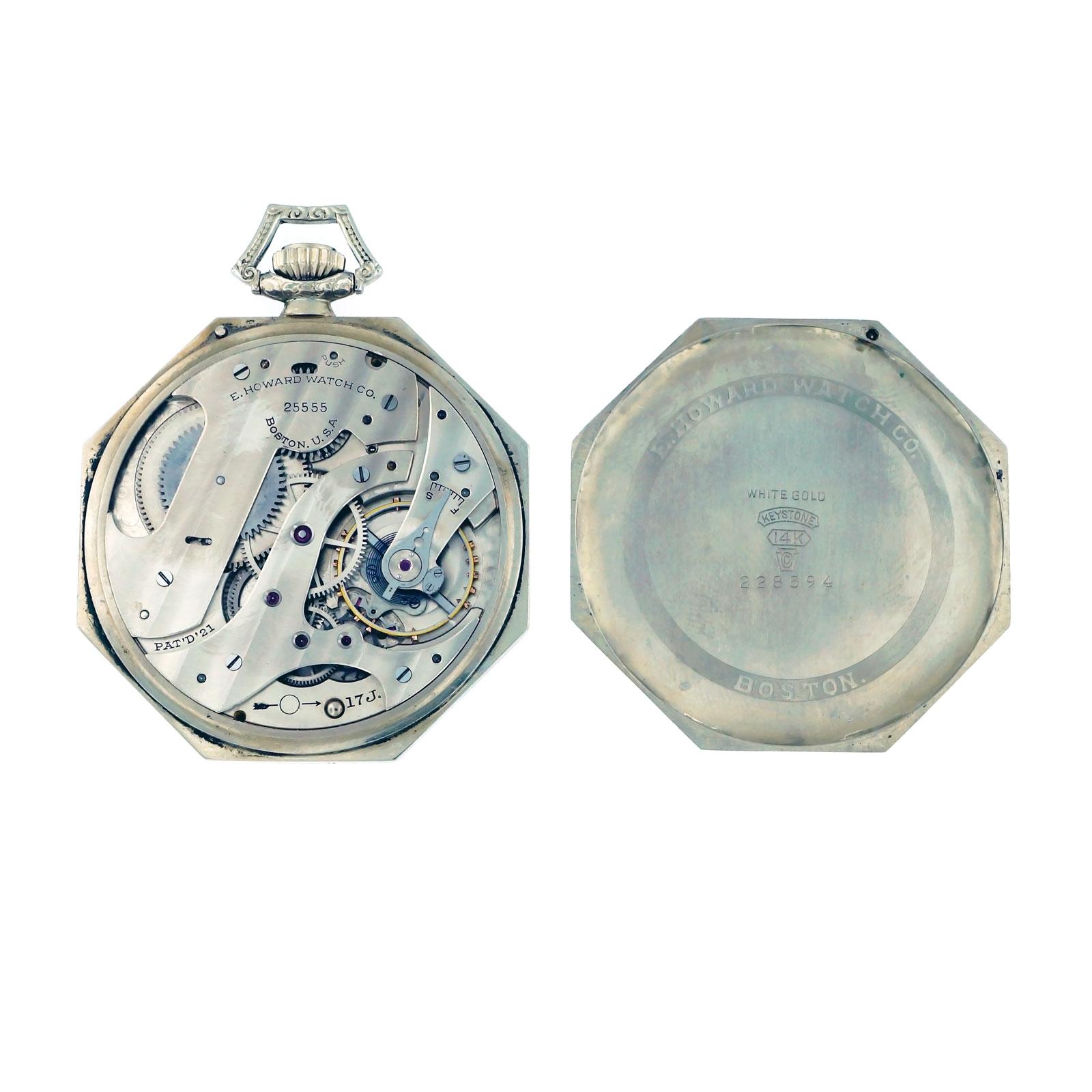 E Howard Co Octagonal 1920 14k White Gold Pocket Watch Ebay