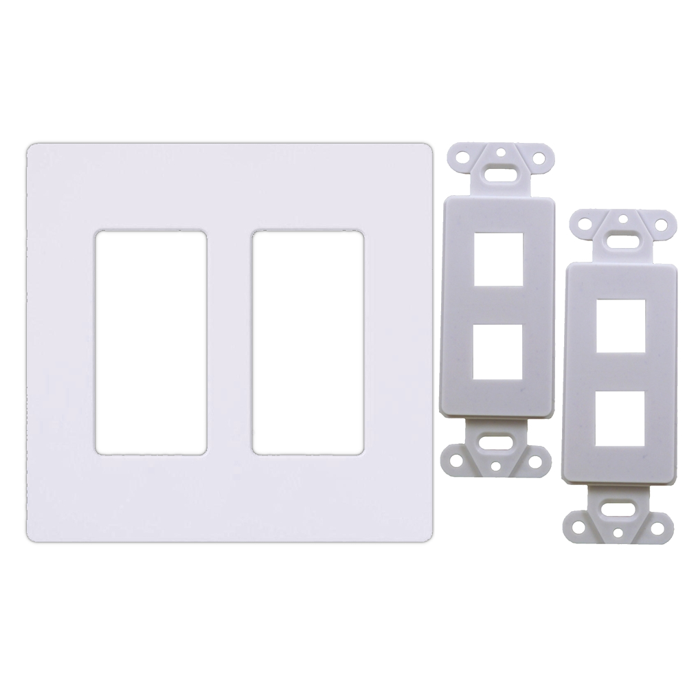 White 2-Gang Screwless Decora Wall Plate Cover with 2-Port Keystone Jack Insert