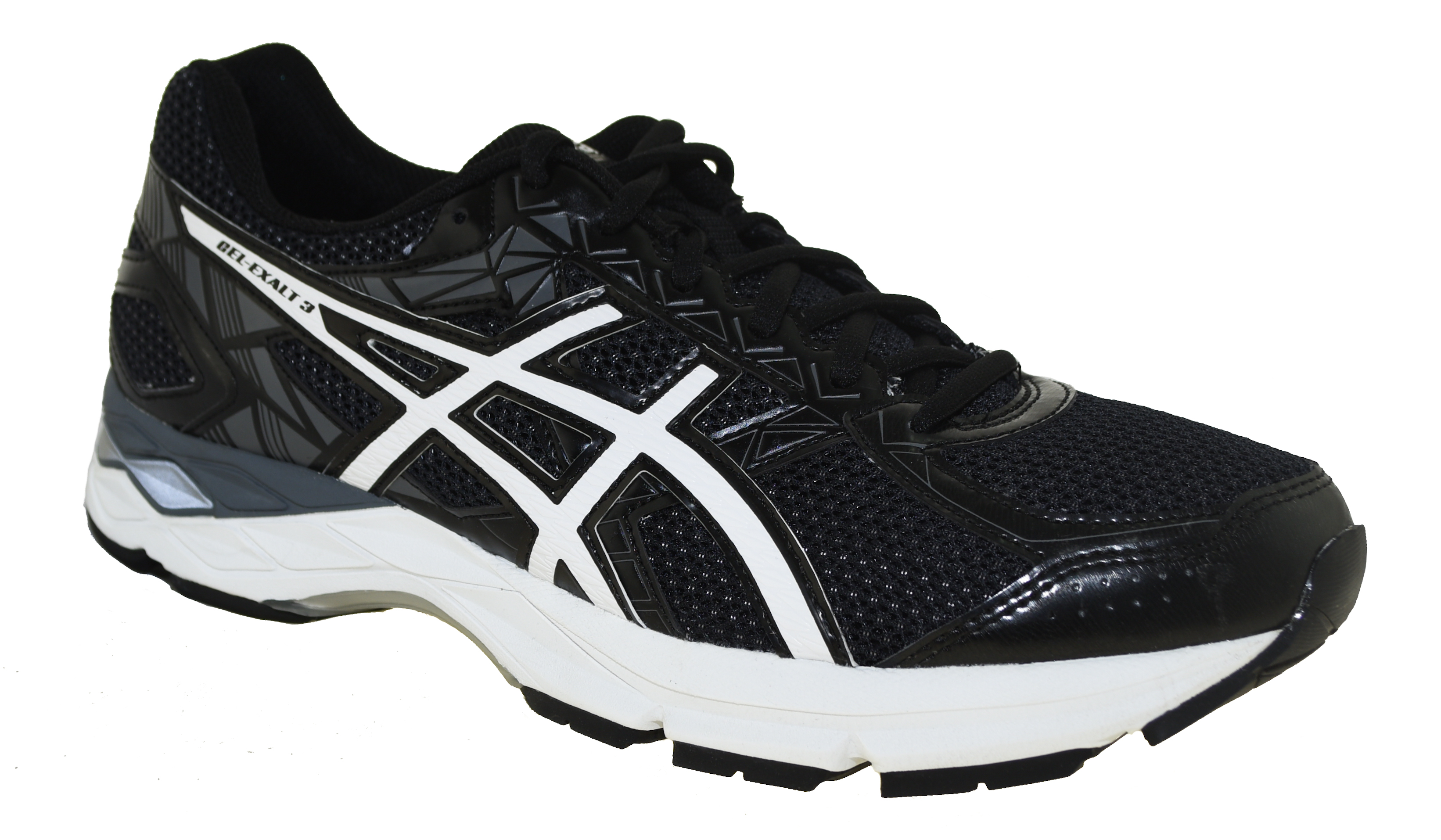 Asics Men s Gel-Exalt 3 Running Shoes Black White Carbon  64379bb242ffa