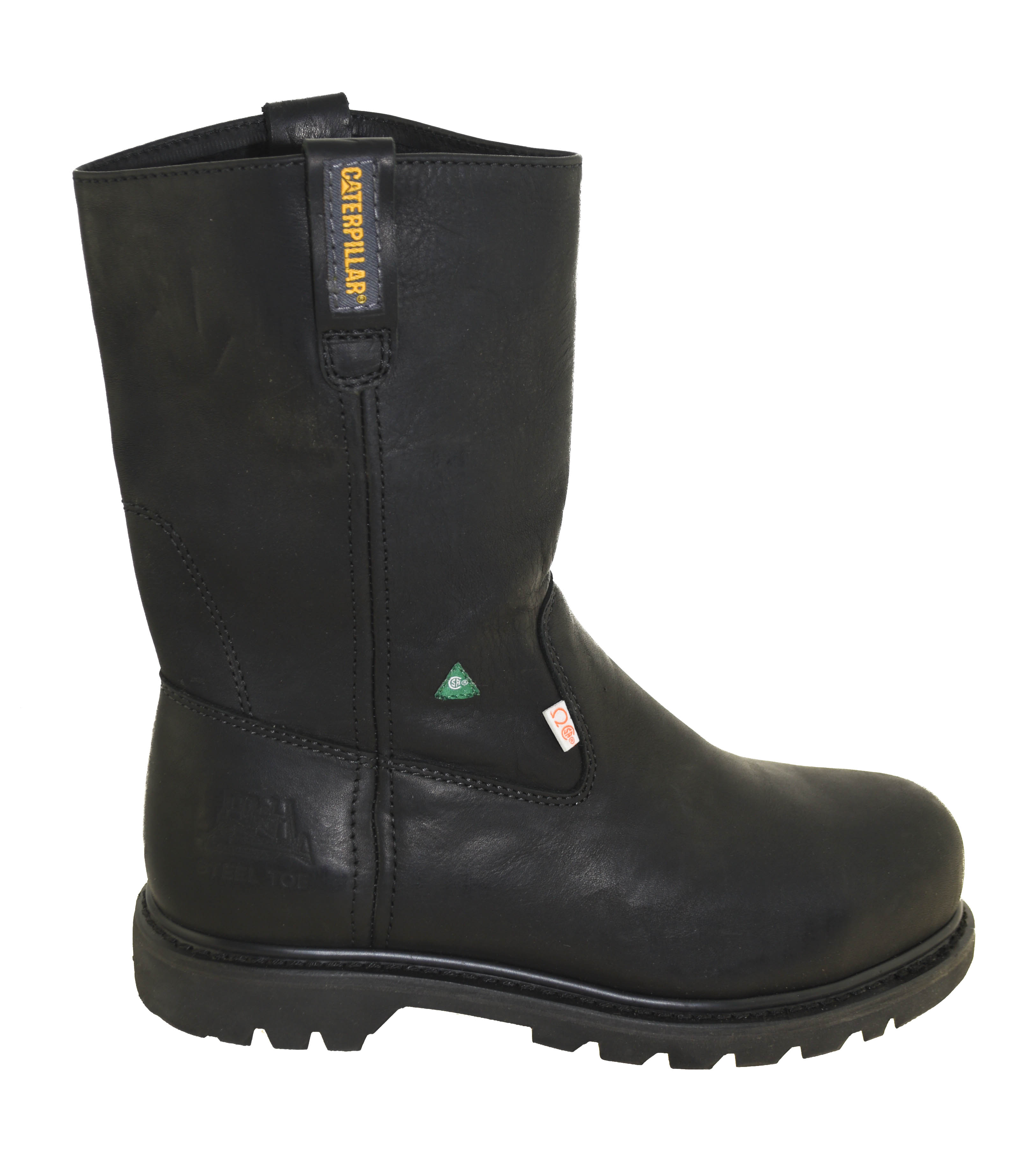 caterpillar s steel toe pull on work boots black ebay