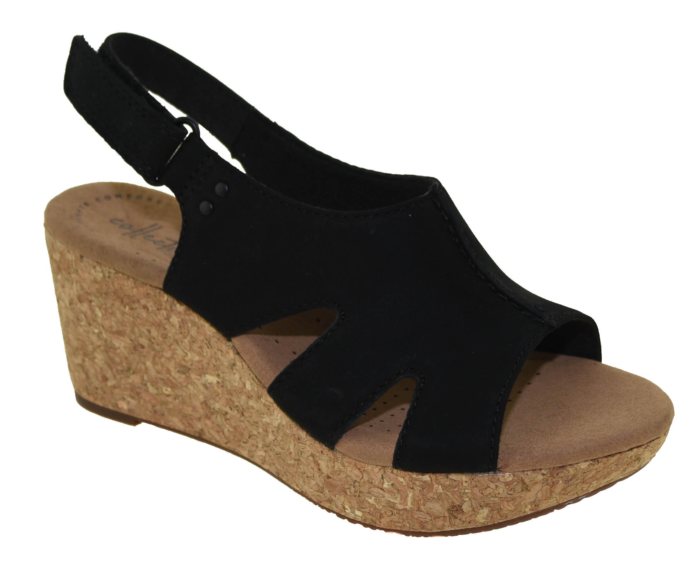 057b123e363 Clarks Women s Annadel Bari Platform Sandal Black Nubuck Style 32948 ...