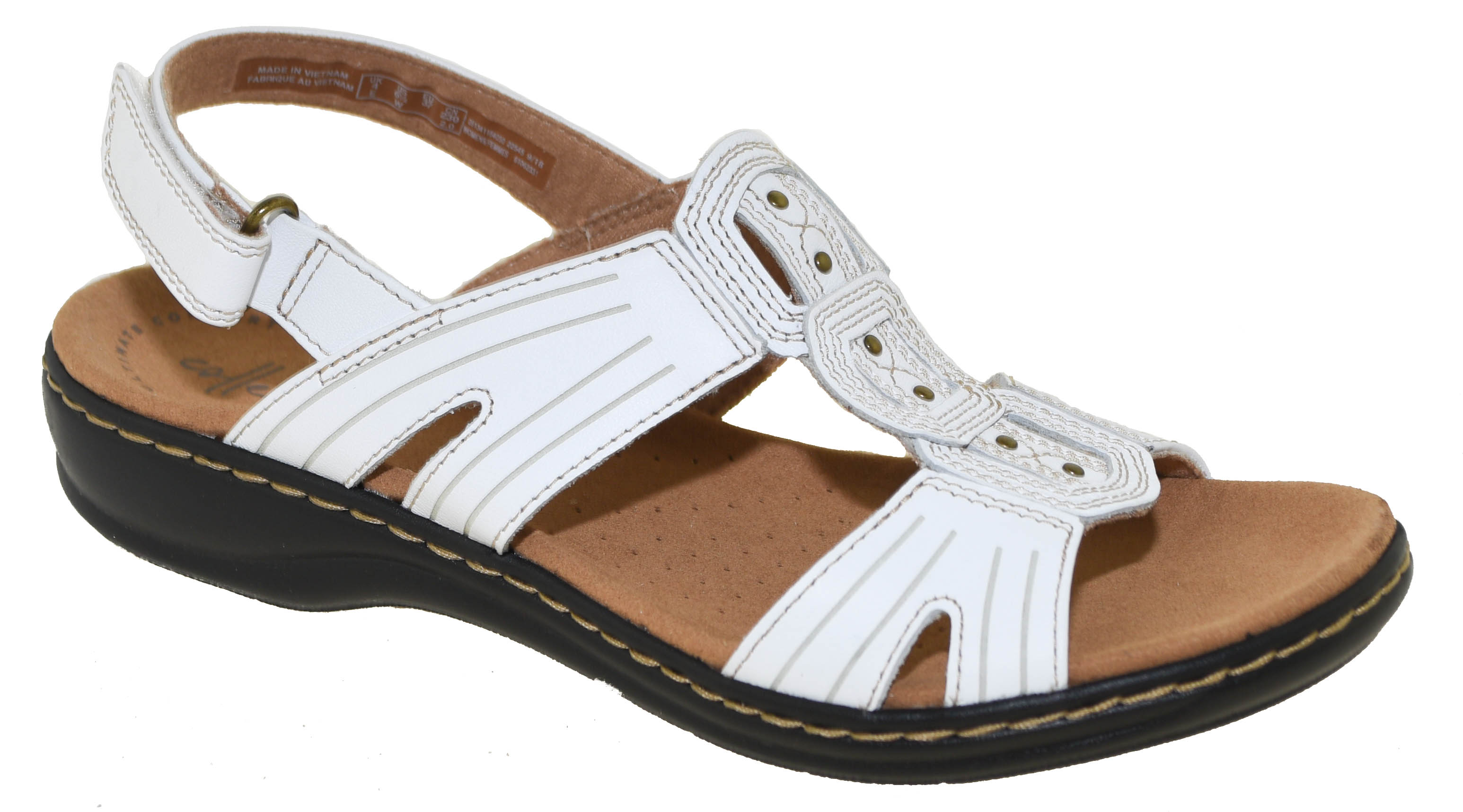 67b1fecb9d3 Clarks Women s Leisa Vine Platform Sandal White Leather Style 34116 ...