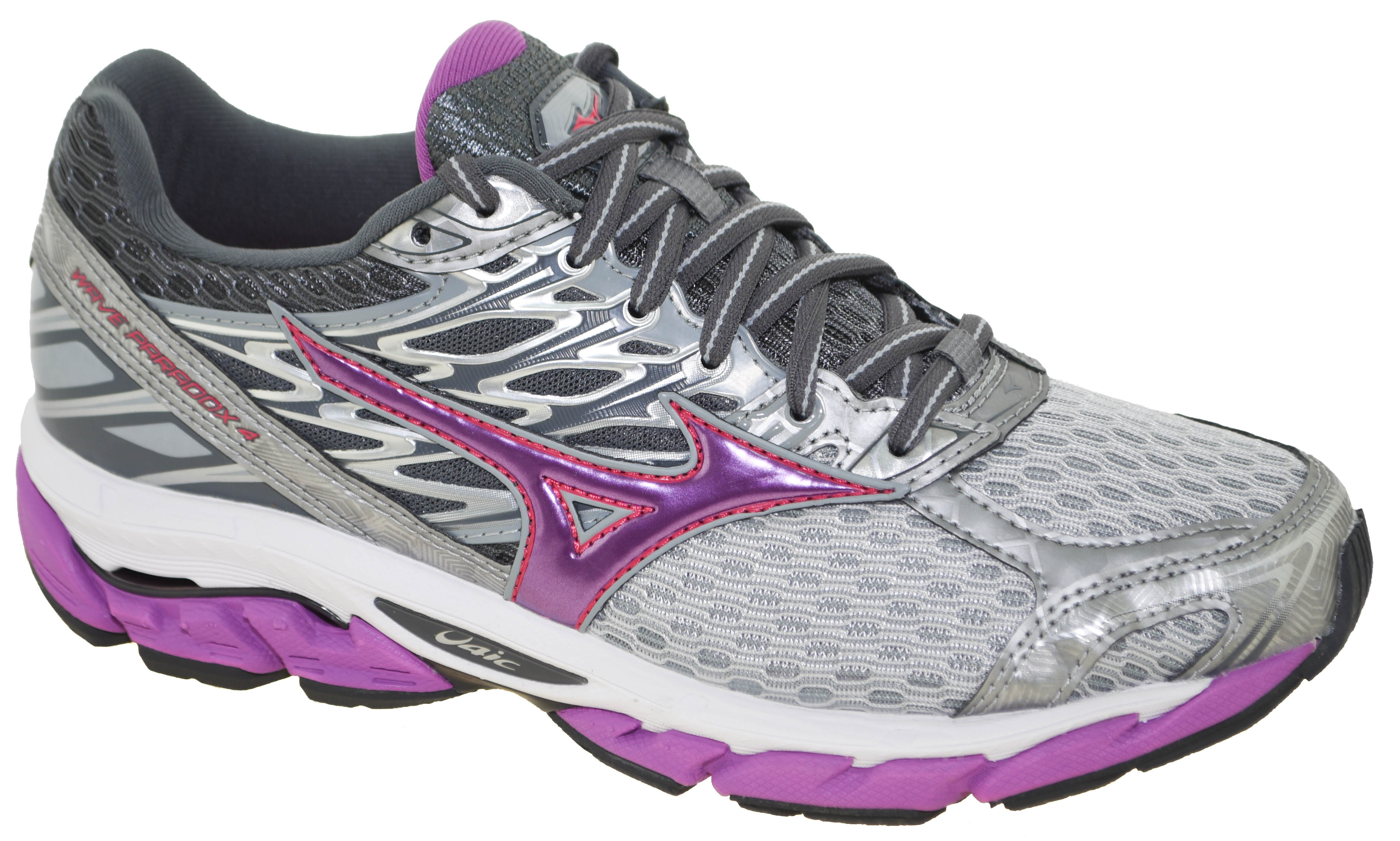 90936248a7aa Mizuno Women's Wave Paradox 4 Running Shoe Griffin/Violet/Pink Style ...