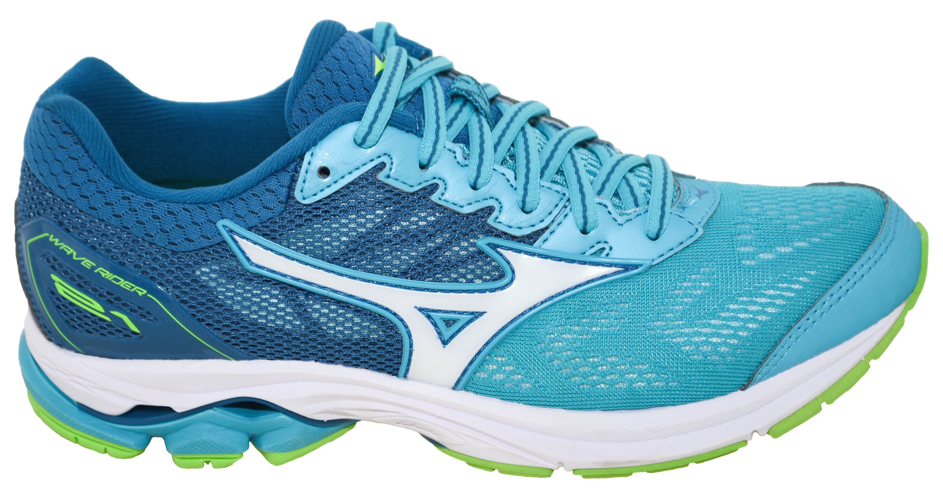 finest selection 2b9bf 4c318 Details about Mizuno Women's Wave Rider 21 Running Shoe Peacock Blue/White  Style 180307