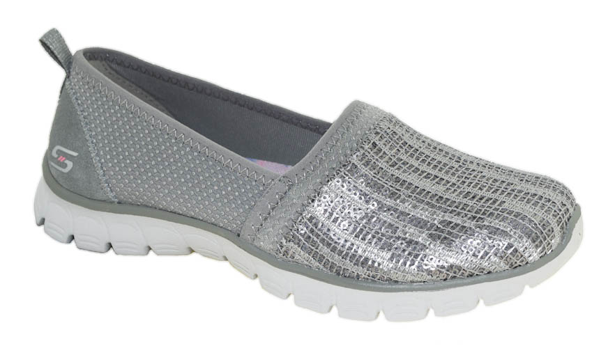 Details about Skechers Women's EZ Flex 3.0 Oh So Fab Gray Slip On Loafer Style 23408
