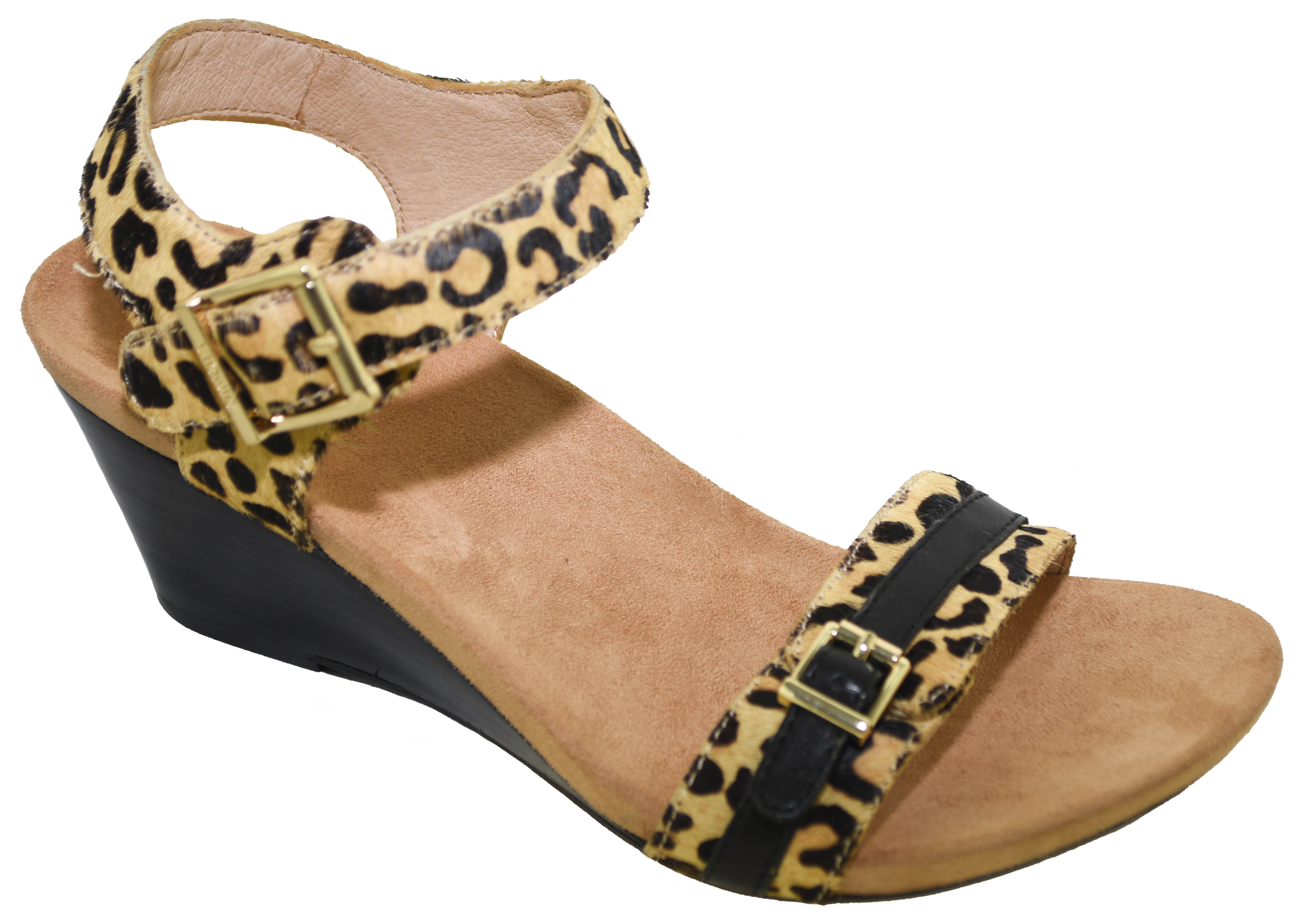 b8c89a0dcf63 Vionic Women s Noble Laurie Wedge Sandal Tan Leopard Style 382