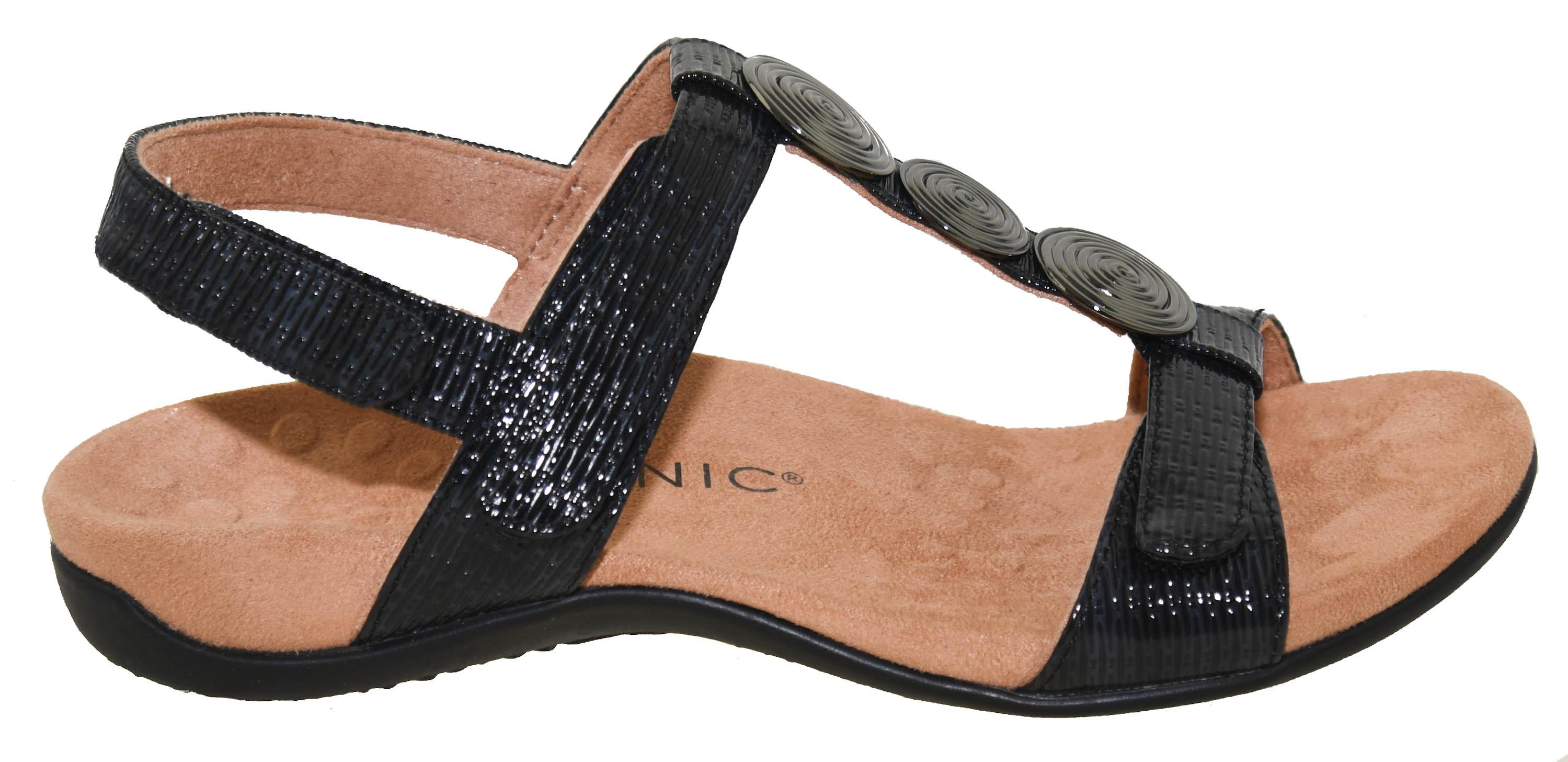 Vionic Rest Farra Women/'s Supportive Sandals Black Woven 7.5 Medium