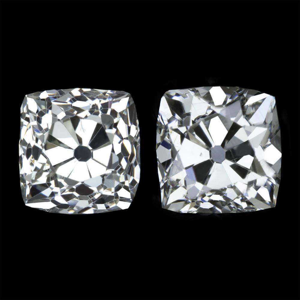 Rare 2ct Victorian Old Mine Cut Diamond Stud Earrings Loose Pair Cushion Antique Ebay