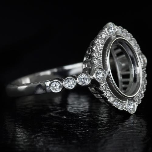 vintage diamond bezel 9x7 2ct oval semi mount engagement. Black Bedroom Furniture Sets. Home Design Ideas