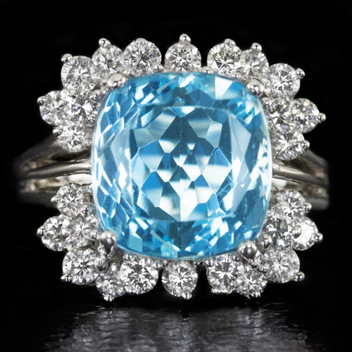 6 CARAT RICH AQUAMARINE CUSHION G H VS DIAMOND COCKTAIL RING RARE 13 5K VINTA