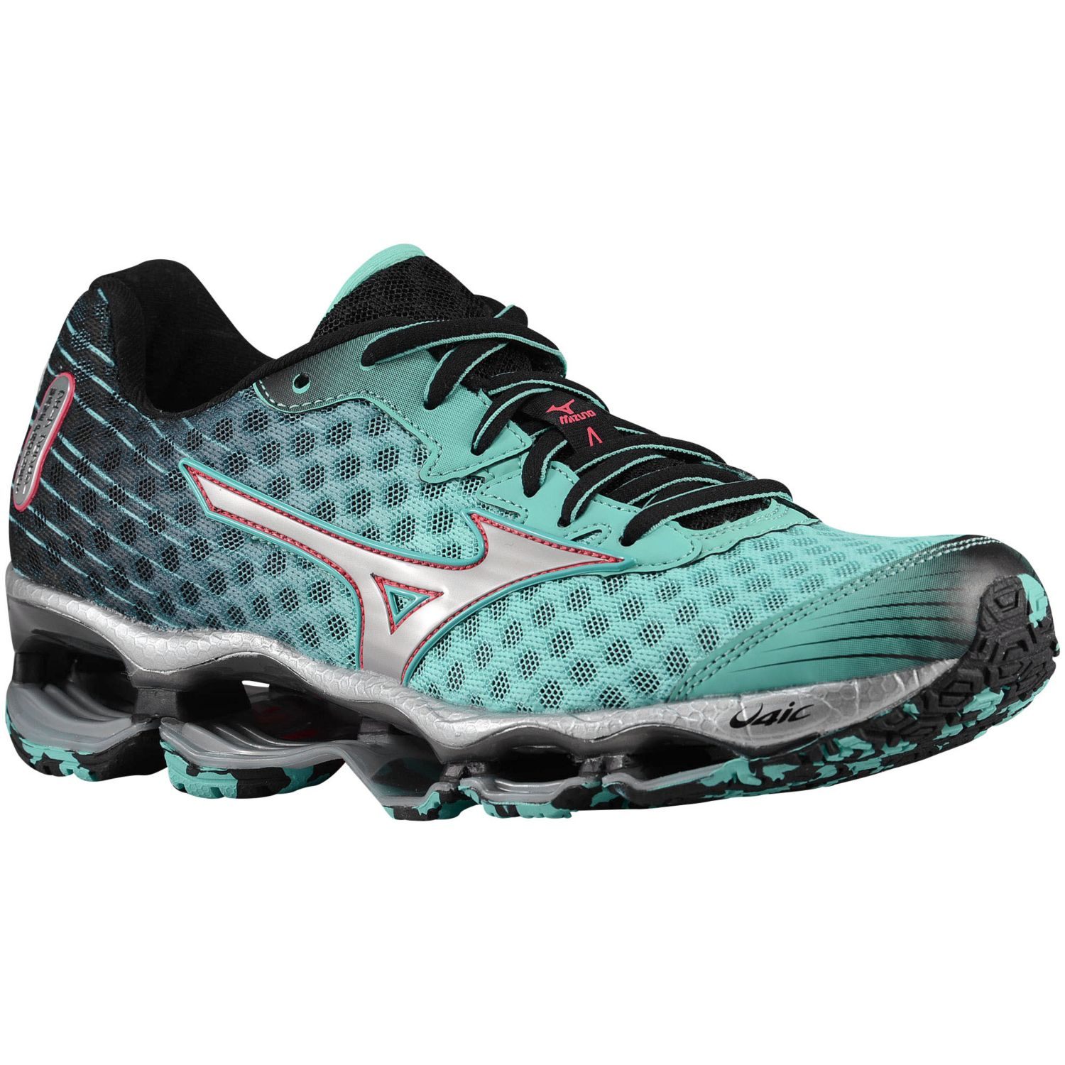 official photos a6766 6f402 ... womens mizuno wave prophecy green red . ...