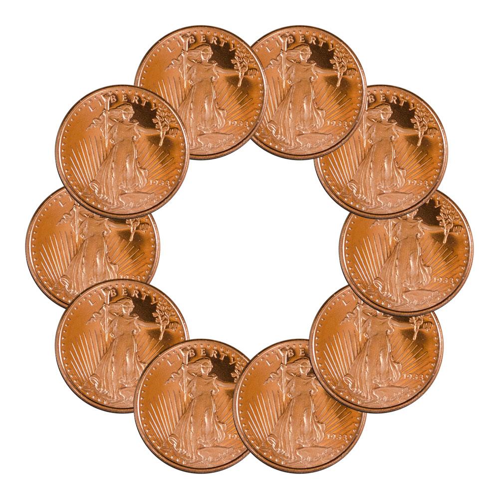 """/""""Saint Gaudens/"""" 1//2 oz .999 Copper Round"""