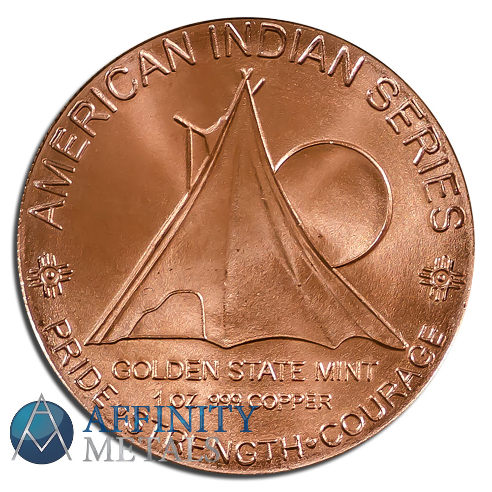 Oz Native Plants: 6 Coins Native American Indian Series 1 Oz Copper Bullion