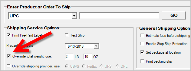 SolidShip Override Total Weight Option Enabled
