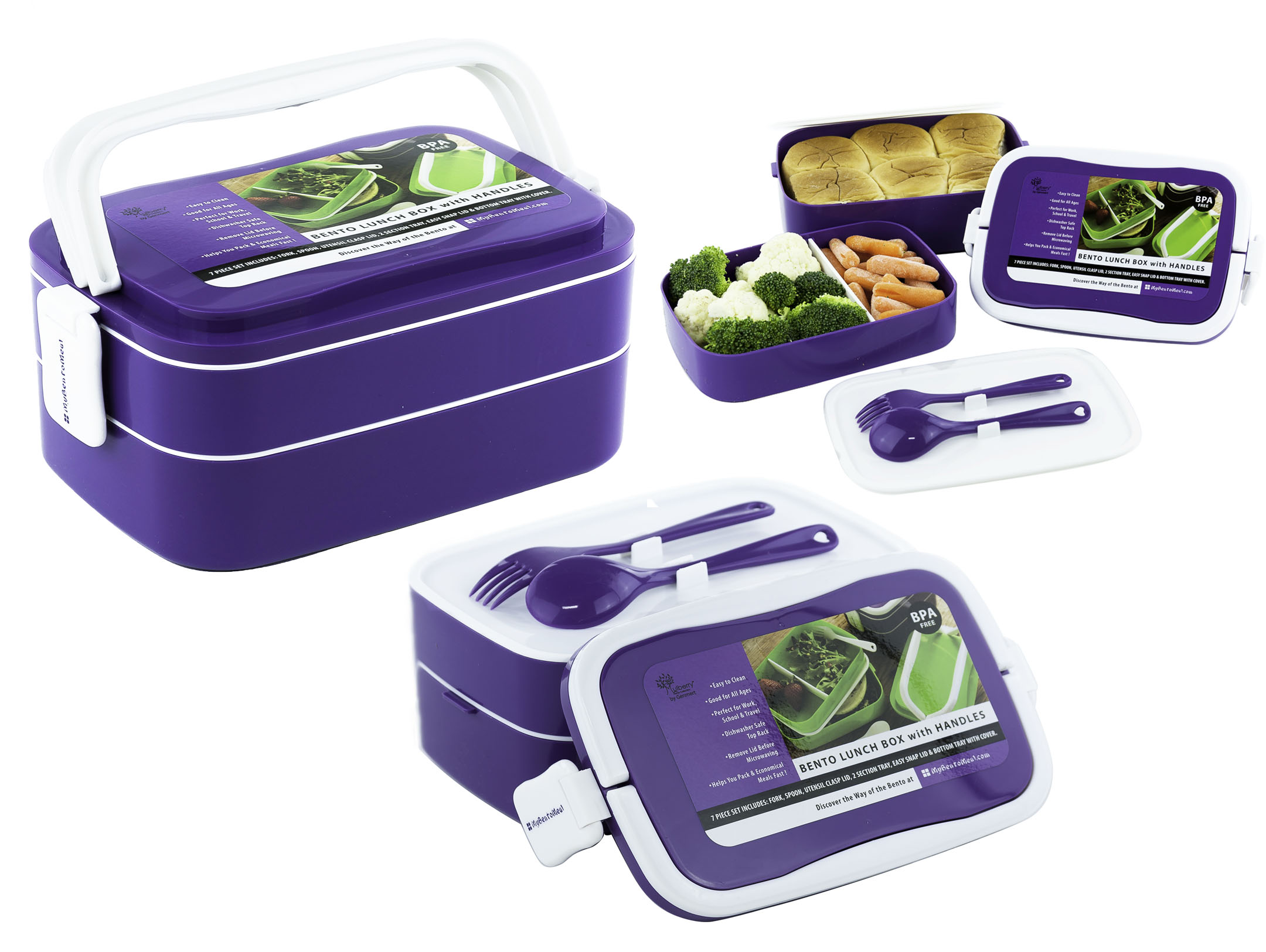 stacking bento lunch box w handles utensils 7pcs fun food storage containers ebay. Black Bedroom Furniture Sets. Home Design Ideas