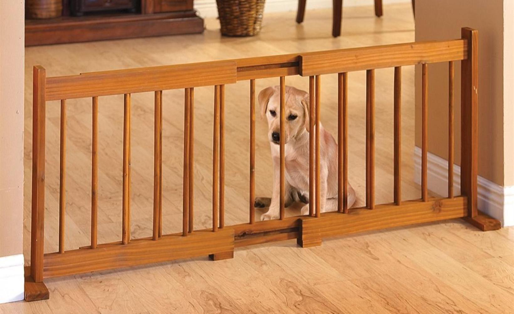 58 Expandable Pet Gate Adjustable Wood Dog Gates Indoor