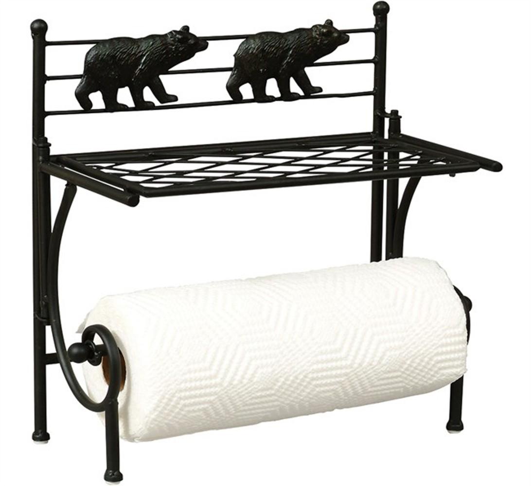 Decorative Bear Black Metal Paper Towel Holder With Shelf