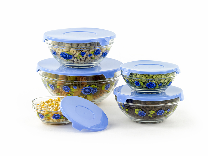10 pcs glass lunch bowls food storage containers set with lids flower design ebay. Black Bedroom Furniture Sets. Home Design Ideas