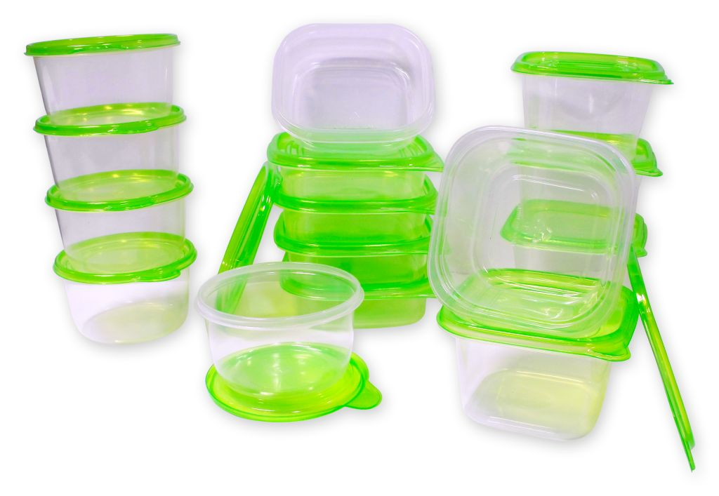30 pcs reusable plastic food storage containers set with air tight green lids. Black Bedroom Furniture Sets. Home Design Ideas