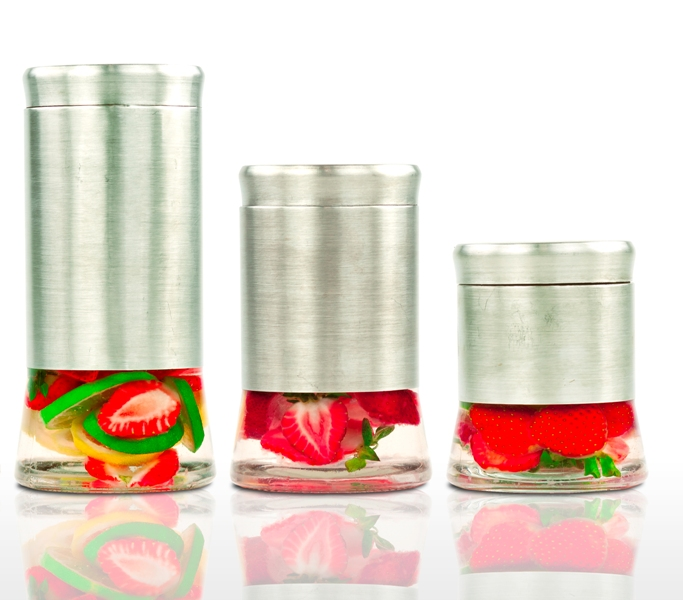 Imperial Home 3 Pcs Stainless Steel Canister Set W/ Air Tight Lids - Glass Food Containers Set at Sears.com