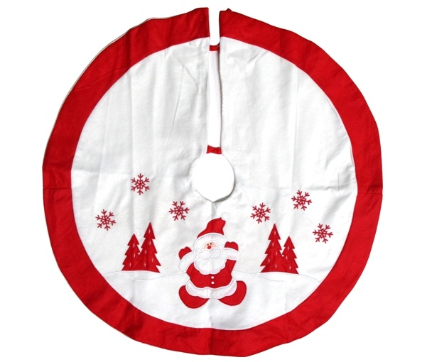 Christmas Tree Red White: Christmas Tree Skirt Santa In The Snow - Red / White