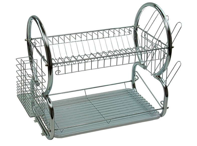 2 tier stainless steel dish rack space saver dish drainer drying rack 16 inch ebay. Black Bedroom Furniture Sets. Home Design Ideas