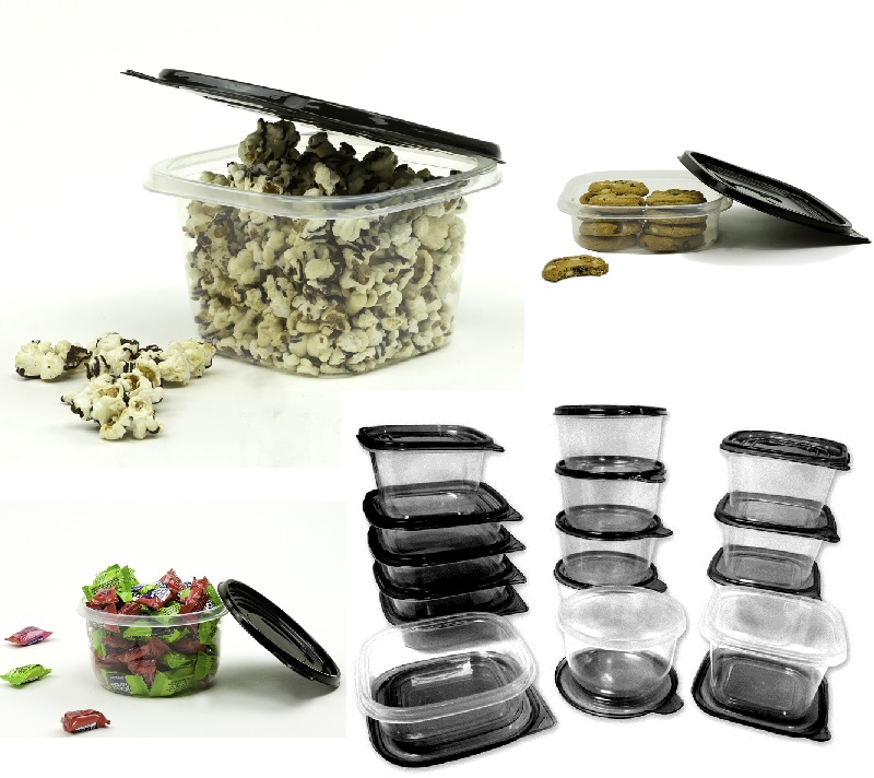 30 pcs reusable plastic food storage containers set with air tight black lids ebay. Black Bedroom Furniture Sets. Home Design Ideas