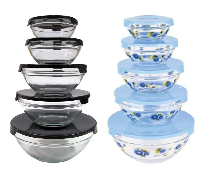 10 pcs glass lunch bowls glass food storage containers set with lids 2 pack ebay. Black Bedroom Furniture Sets. Home Design Ideas