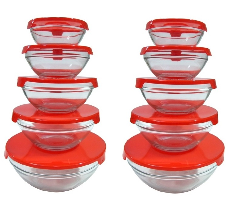 10 pcs glass lunch bowls glass food storage containers set with red lids 2 p ebay. Black Bedroom Furniture Sets. Home Design Ideas
