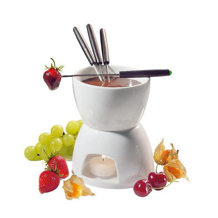 ceramic chocolate fondue set w fondue pot fondue dippers ebay. Black Bedroom Furniture Sets. Home Design Ideas